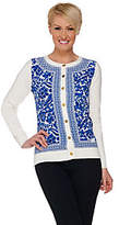 C. Wonder Printed Woven Front Knit Cardigan w/Status Buttons