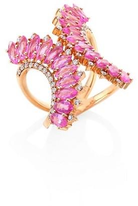 Hueb Mirage Diamond, Pink Sapphire & 18K Yellow Gold Ring
