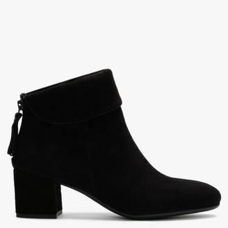 Lamica Black Suede Block Heel Ankle Boots