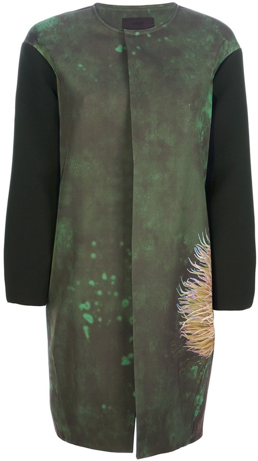 Jo No Fui printed bi-colour coat