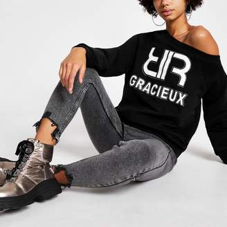 River Island Womens Black 'Gracieux' diamante sweatshirt