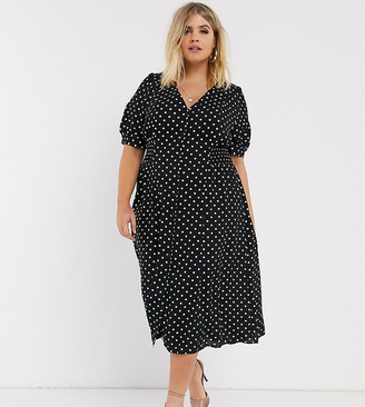 ASOS DESIGN Curve button through midi tea dress with shirred waist in spot
