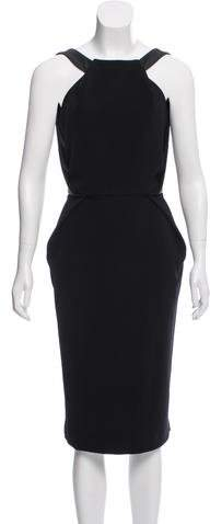 Dion Lee Leather-Trimmed Midi Dress