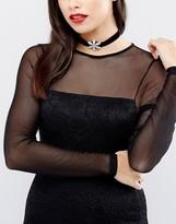 Krystal London Swarovski Crystal Flower On Black Velvet Choker