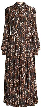 Michael Kors Crushed Dancer Print Silk Shirtdress