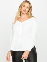 ELOQUII Plus Size Off the Shoulder Button Up Blouse