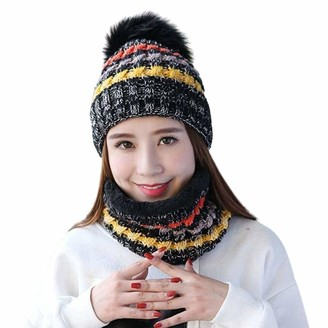 Jfan Ladies Scarf Hat Set Winter Two-Piece Beanie Set for Women Thick Knitted Warm Ear Protection Ball Hat Elastic Windproof Circle Stretchy Scarves Outdoor Cycling for Ski Black