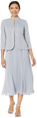 Alex Evenings Tea Length Mock Jacket Dress with Glitter Knit Jacket (Silver) Women's Dress