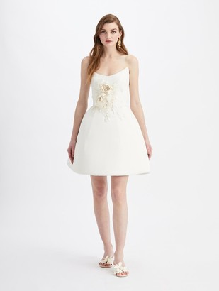 Oscar de la Renta Mini Strapless Embroidered Cocktail Dress