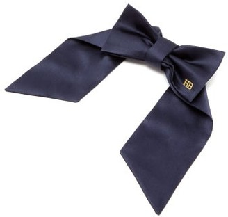 Hillier Bartley Logo-embroidered Satin Bow Hair Clip - Womens - Navy