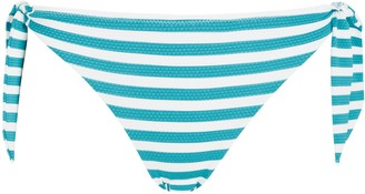 John Lewis & Partners Portland Stripe Bunny Side Tie Bikini Briefs, Green/Multi