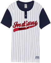PINK Cleveland Indians Bling Campus Henley Tee