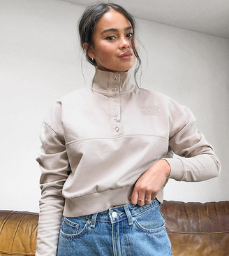 Reclaimed Vintage inspired cropped sweat with high neck and button popper in mocha co-ord