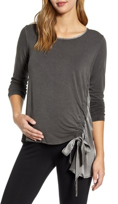 Maternal America Side Tie Maternity Top