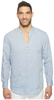 Perry Ellis Long Sleeve Solid Linen Popover Shirt Men's Long Sleeve Button Up