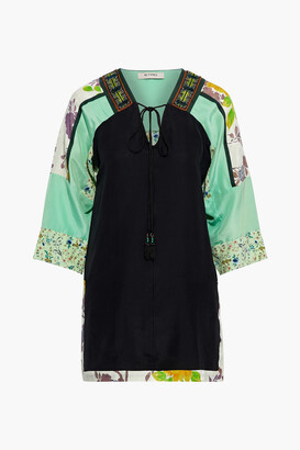 Etro Embellished Jacquard, Satin And Floral-print Silk Crepe De Chine Tunic