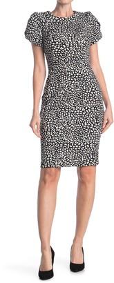 Calvin Klein Tulip Short Sleeve Leopard Dress