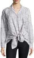 Lafayette 148 New York Lumi Gingham-Print Top, Sterling