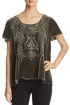 Johnny Was Saskia Embroidered Velvet Top