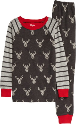 Hatley Patterned Stags Organic Cotton Fitted Two-Piece Pajamas