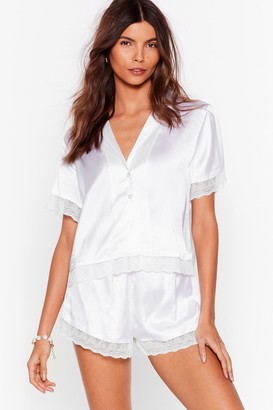 Nasty Gal Womens Invest In Rest Lace Pajama Shorts Set - White