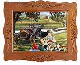 Jiayi 1:12 Fine Scale Miniature Print of Kids Playing Scene With Wood Framed For Home Décor