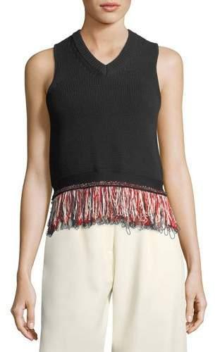 Carven V-Neck Sleeveless Knit Tank Top with Fringed-Hem