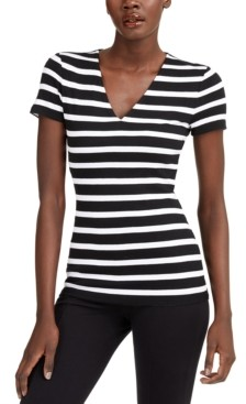 INC International Concepts Inc Striped V-Neck T-Shirt, Created for Macy's