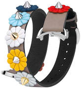 Fendi 17mm Flower-Studded Leather Watch Strap