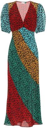 Rixo Amber printed silk midi dress