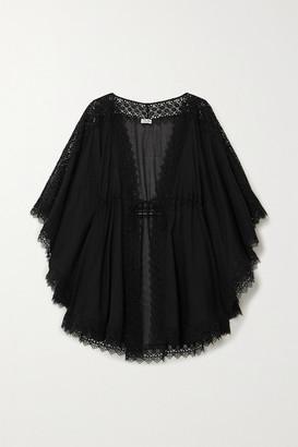 Charo Ruiz Ibiza Indya Crocheted Lace-paneled Cotton-blend Voile Kaftan