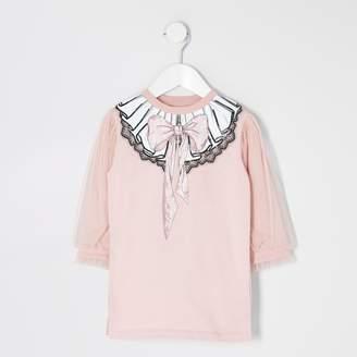 River Island Mini girls Pink mesh sleeve sweater dress