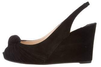 Christian Louboutin Suede Slingback Wedges