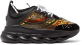 Versace Chain Reaction Twill And Suede Trainers - Mens - Multi