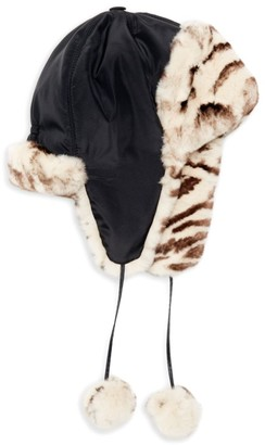 Adrienne Landau Rabbit Fur-Lined Trapper Hat