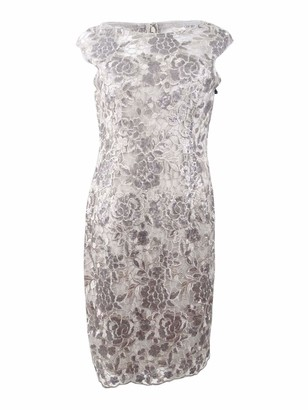 Adrianna Papell Women's Floral Sequin Embroidered Sheath