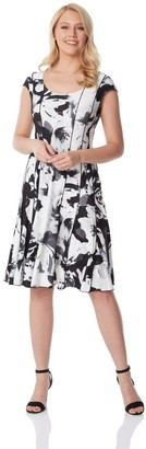 M&Co Roman Originals monochrome floral print panel dress