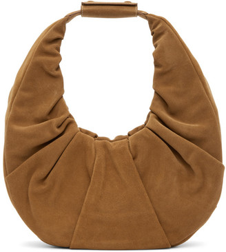 STAUD Tan Suede Large Soft Moon Bag