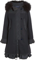 Moncler Blanche Shearling And Twill-trimmed Wool-blend Coat - Midnight blue