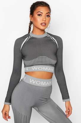 boohoo Fit Contrast Seamless Knit Woman Active Crop Top
