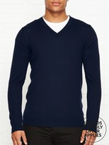 Reiss Earl Merino Wool V Neck Jumper