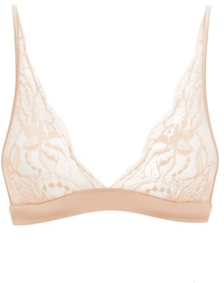 Fleur of England Signature Boudoir Chantilly-lace Triangle Bra - Light Pink
