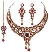 I Jewels Women's Traditional Gold Plated Bridal Jewellery Set With Maang Tikka