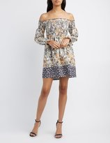 Charlotte Russe Floral Smocked Off-The-Shoulder Dress