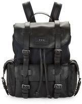 John Varvatos Leather Buckled Backpack