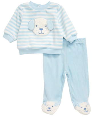 Little Me Puppy Velour Sweatshirt & Footed Pants