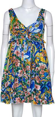 Dolce & Gabbana Multicolor Floral Printed Silk Ruffle Detail Dress M