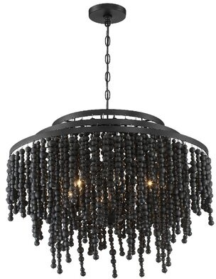 Dakota Fields Poppy 6 - Light Unique Tiered Chandelier with Wood Accents Finish: Black Wood Beads