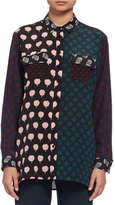 Lanvin Long-Sleeve Multi-Print Patchwork Blouse