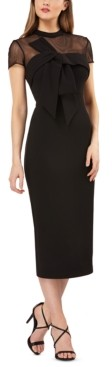 JS Collections Bow-Front Illusion Sheath Dress